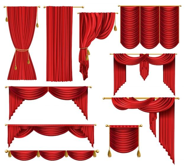 Conjunto de cortinas de luxo vermelhas, abertas e fechadas, com cortinas decorativas e cordas