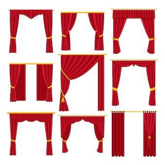Conjunto de cortinas isolado no branco.