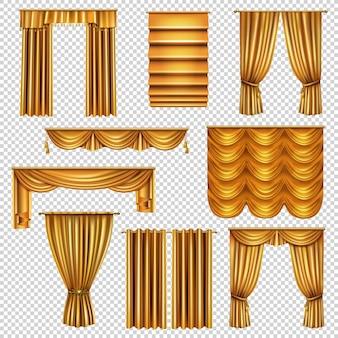 Conjunto de cortinas luxuosas realistas de tecido dourado