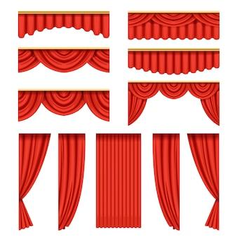 Conjunto de cortinas vermelhas com sanefas para palco de teatro