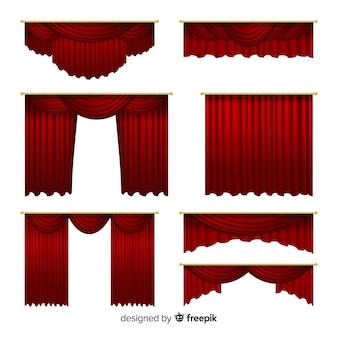 Conjunto de cortinas vermelhas realistas