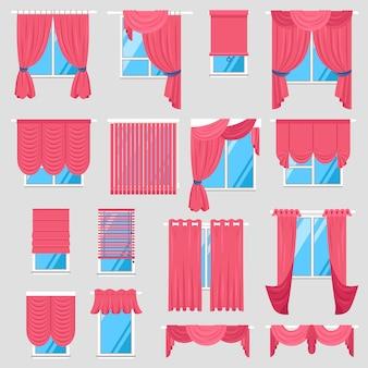 Conjunto de cortinas vermelhas
