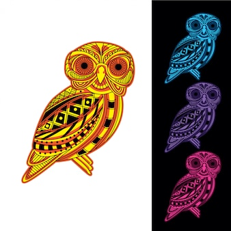 Conjunto de coruja de brilho padrão decorativo no escuro