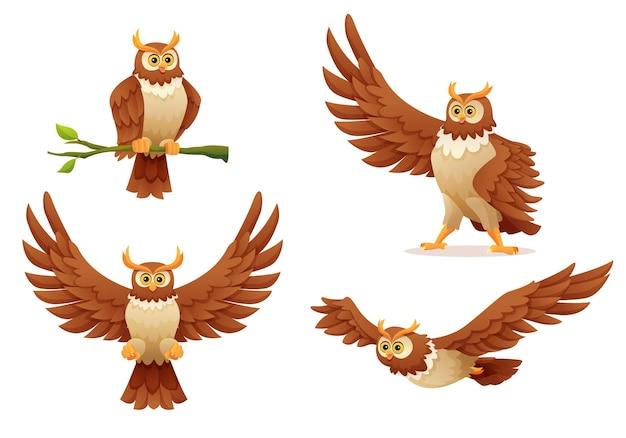 Conjunto de coruja em várias poses ilustração dos desenhos animados