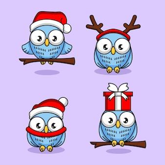 Conjunto de coruja fofa com fantasia e decoração de natal
