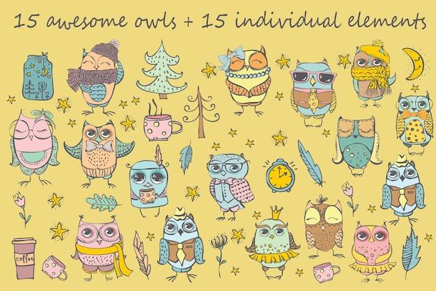 Conjunto de corujas de desenho animado com várias emoções, coleção de vários desenhos de coruja fofa, desenhada à mão