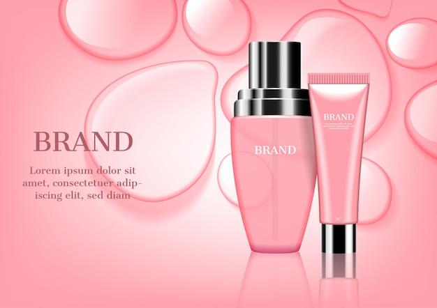 Conjunto de cosmético rosa com água e gotas de fundo