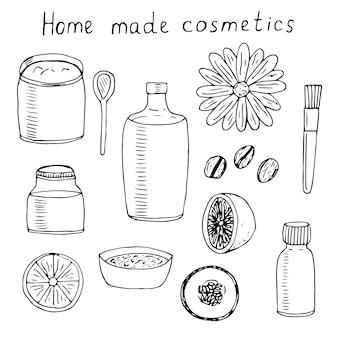 Conjunto de cosméticos caseiros, vetorial, doodle, ilustração, frascos, colher, escova e produtos