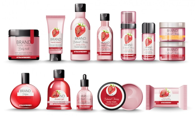 Conjunto de cosméticos com morango. leite corporal, creme para as mãos, gel de banho, perfume, sabonete, máscara e spray