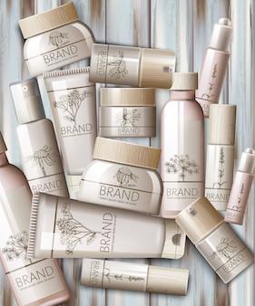 Conjunto de cosméticos com tampa de madeira. água termal, soro, creme, loção, máscara corporal, spray, leite, tônico. lugar para texto. colocação de produto
