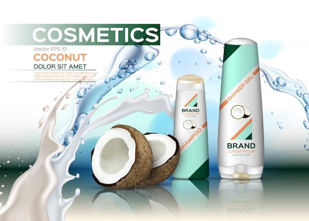Conjunto de cosméticos conjunto com leite de coco