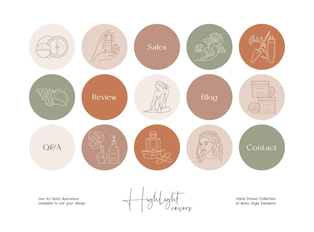Conjunto de cosméticos de arte de linha desenhada à mão e ilustrações de beleza para capas de destaques de mídia social