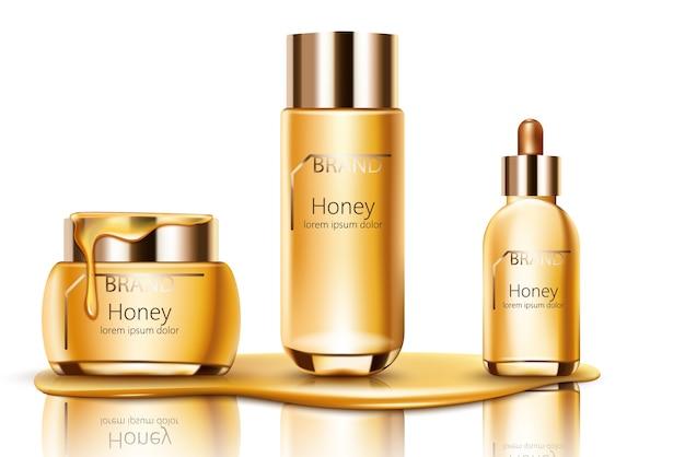 Conjunto de cosméticos de mel escorrendo no fundo com creme