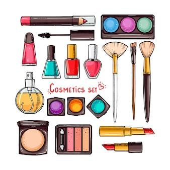 Conjunto de cosméticos decorativos femininos. ilustração desenhada à mão