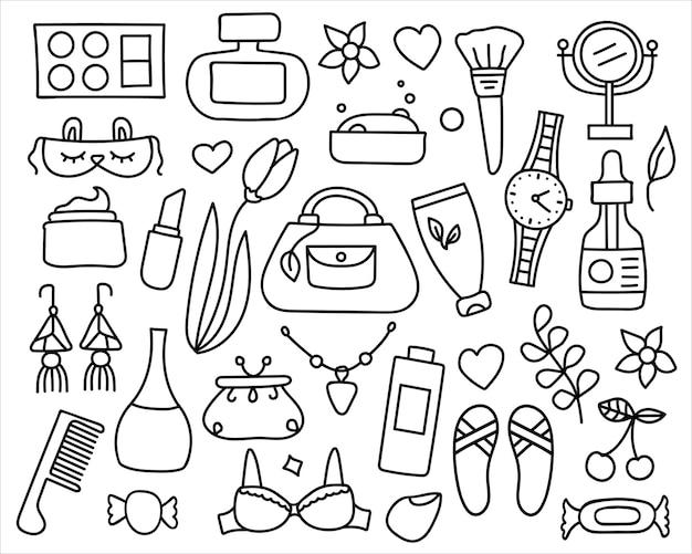 Conjunto de cosméticos doodle e elementos de beleza.