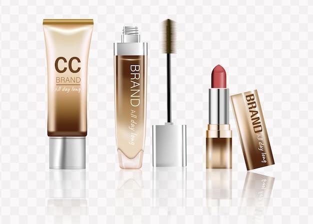 Conjunto de cosméticos elegantes, acessórios de maquiagem de luxo, batom, mascara de creme