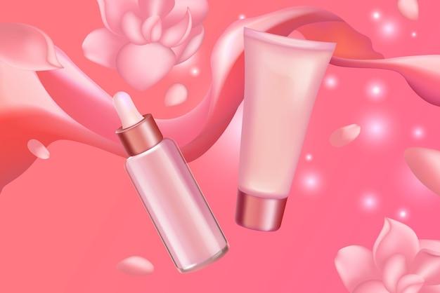 Conjunto de cosméticos em creme sérico para cuidados com a pele do rosto