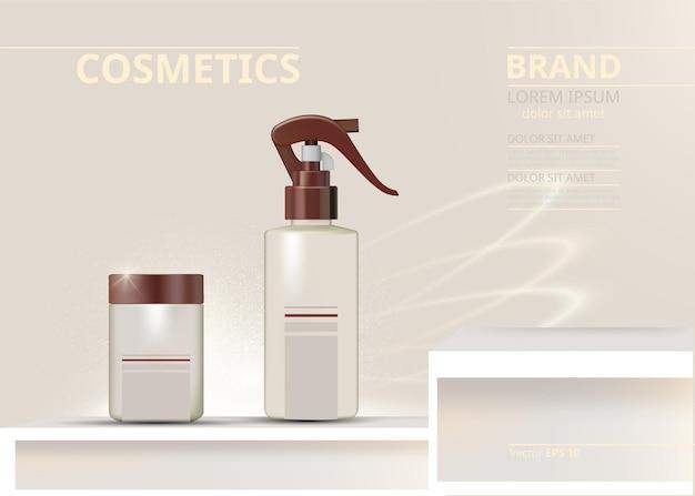 Conjunto de cosméticos em spray realista