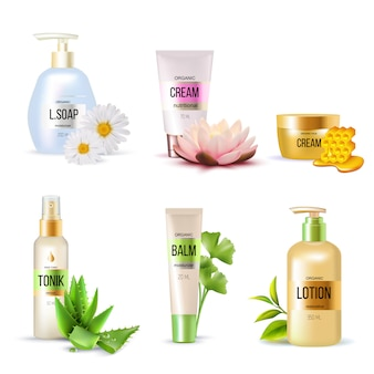 Conjunto de cosméticos orgânicos