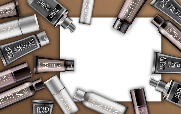 Conjunto de cosméticos para ilustração de homens