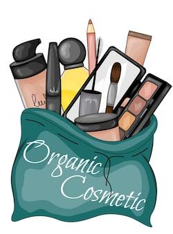 Conjunto de cosméticos para rosto.