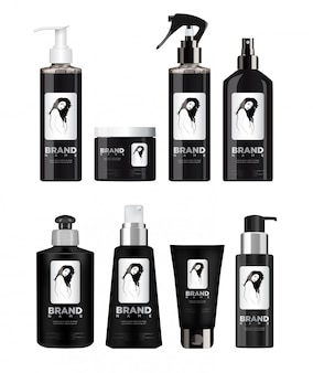 Conjunto de cosméticos preto realista