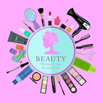 Conjunto de cosméticos profissionais, várias ferramentas de beleza e produtos: