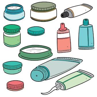 Conjunto de cosméticos tópicos e medicamentos tópicos