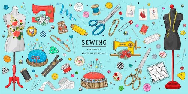 Conjunto de costura de esboço desenhado à mão