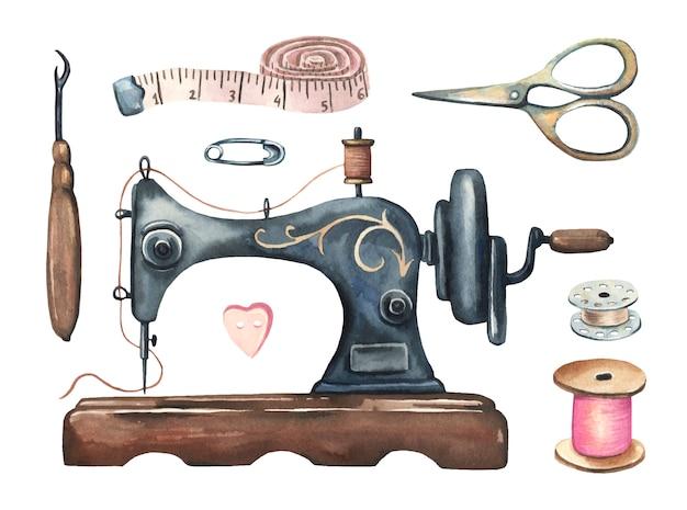Conjunto de costura vintage em aquarela.