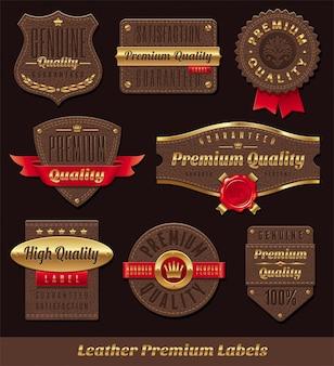 Conjunto de couro e ouro premium e etiquetas de qualidade