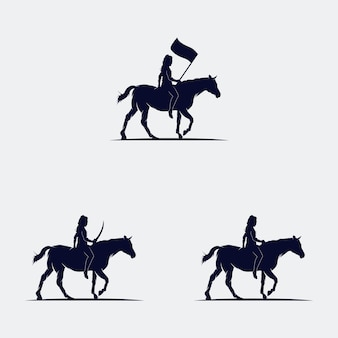 Conjunto de cowboys montando silhueta de cavalo