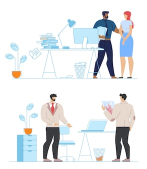 Conjunto de coworking de equipe de escritório multirracial diversa