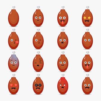 Conjunto de coxas de frango fofas com emoticons