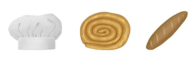 Conjunto de cozinha chapéu de chef baguete de caracol assado