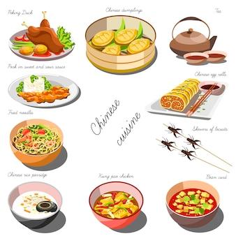 Conjunto de cozinha chinesa. coleção de pratos de comida