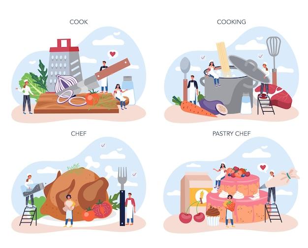 Conjunto de cozinha de chef de restaurante