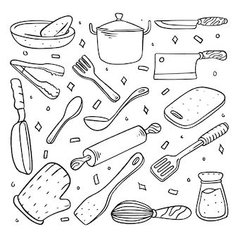 Conjunto de cozinha doodle desenhado à mão