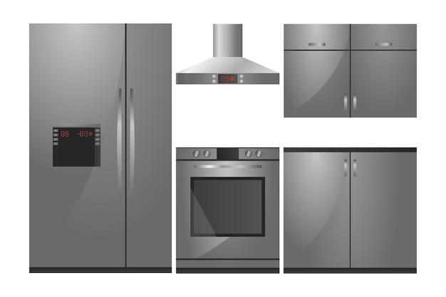 Conjunto de cozinha em estilo moderno com aparelhos