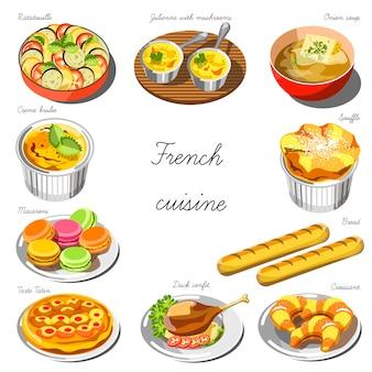 Conjunto de cozinha francesa. coleção de pratos de comida