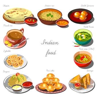 Conjunto de cozinha indiana. coleção de pratos de comida