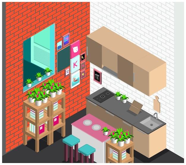 Conjunto de cozinha interior estilo escandinavo