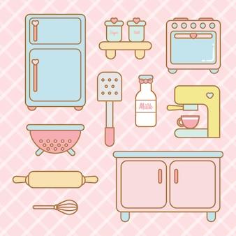 Conjunto de cozinha kawaii bonito