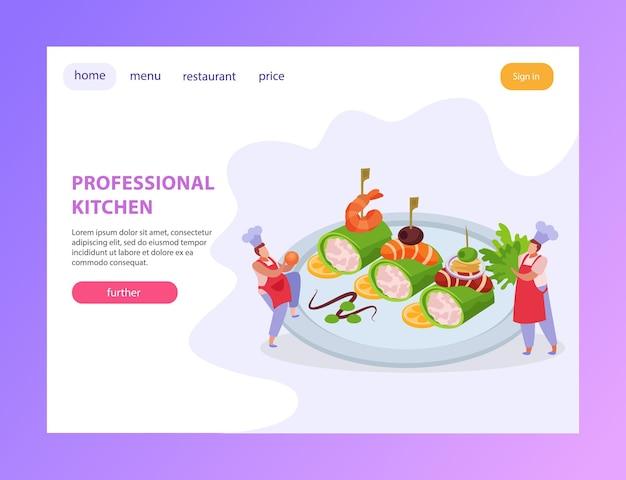 Conjunto de cozinha profissional de banners horizontais com página de destino de pratos gourmet