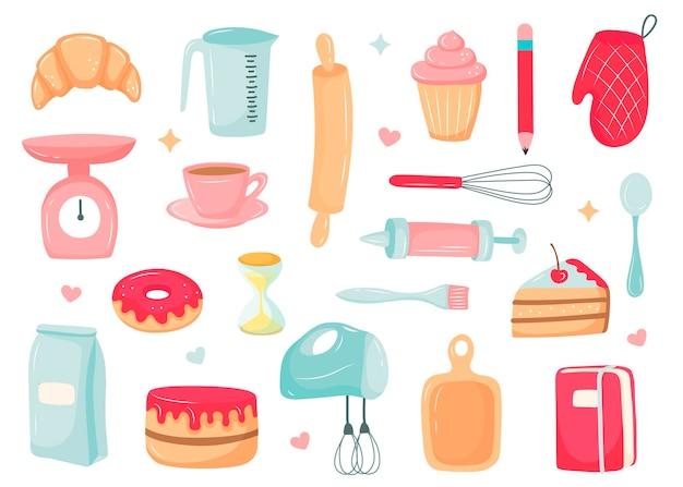 Conjunto de cozinha, sobremesas para cozinhar, itens de cozinha