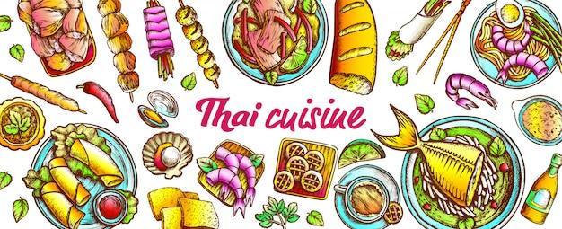 Conjunto de cozinha tradicional da tailândia