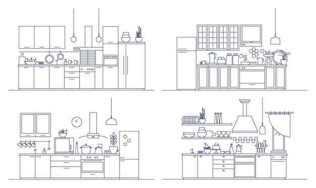 Conjunto de cozinhas equipadas com móveis modernos, eletrodomésticos, utensílios de cozinha e decoração para casa. pacote de interiores confortáveis desenhados em estilo de linha de arte. ilustração monocromática do vetor.