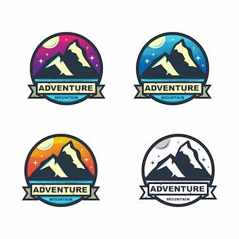 Conjunto de crachá colorido círculo aventura de montanha