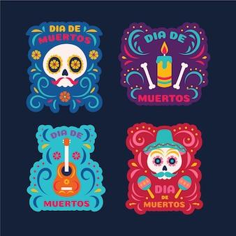 Conjunto de crachá de dia dos mortos em design plano