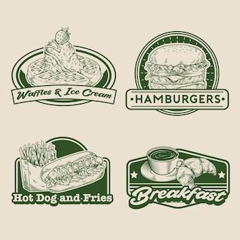 Conjunto de crachá de fast food retrô de mão